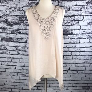 Beige Spense Tank Top with Crochet Detailing